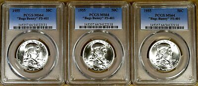 1955 PCGS MS64 FS-401 Bugs Bunny Franklin Half Dollar - 100% White