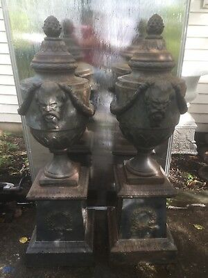 Vintage Neoclasical Cast Iron Urns Flower Pots 14x48 Inches Tall