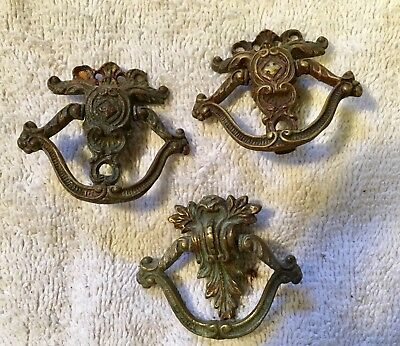 Three Vintage Solid Cast Brass Drop Swing Drawer Door Pull Handles (Lot C)