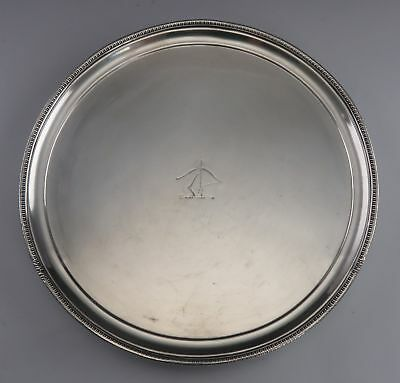 Antique English Sheffield Silver Footed Crest Platter/Tray/Plate