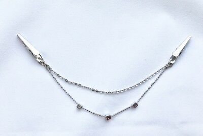 New Silver Block Chain Sweater Guard Clip Cardigan Collar Clip 312-Canada Seller