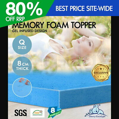 Memory Foam Mattress Topper Starry Eucalypt Queen COOL GEL BAMBOO Cover 8CM