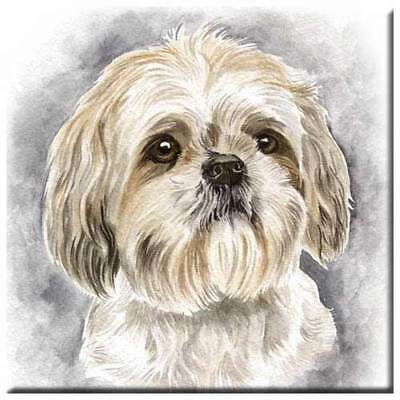 "Shih Tzu 4"" Decorative, Cork Backed, Ceramic Tile"