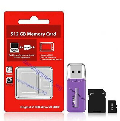 512GB Micro SD Card with Adapter (Class 10 Speed) Memory Storage Store Data File