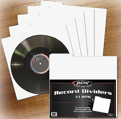 100 BCW 33 RPM Record Dividers with Index Tab for 12 Inch Storage Boxes