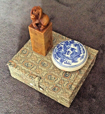 Chinese Hand Carved Soapstone Seal Set ( Pig Sitting On Seal )