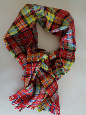 """'ogilvie'  Woven In Scotland   100%wool  11""""x50"""" + Fringe  Red,yell,blu, Wht,blk"""