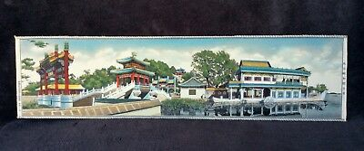 Chinese Vintage Hand Painted On Silk Temple Picture