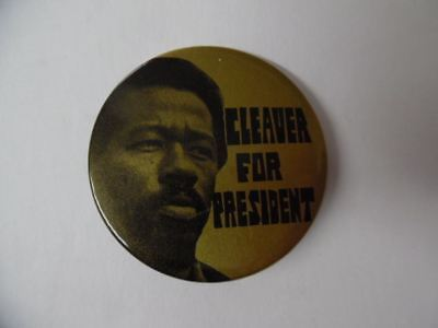 1968 Eldridge Cleaver For President Campaign Pinback Button Black Panther Party
