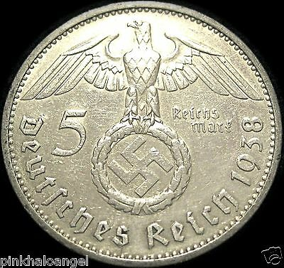 German Third Reich 1938F Silver 5 Reichsmark Coin World War 2