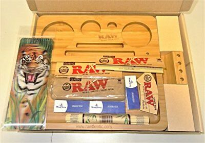RAW (Madera de Bambú Rolling bandeja con productos de Raw Deal con 3d Bookmark