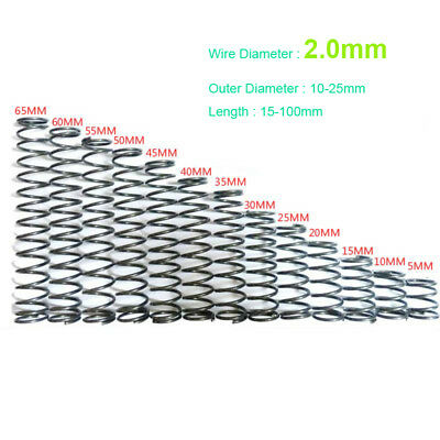 2.0mm Wire Dia. Small Pressure Spring Steel 10mm to 25mm OD 15mm to 100mm Length