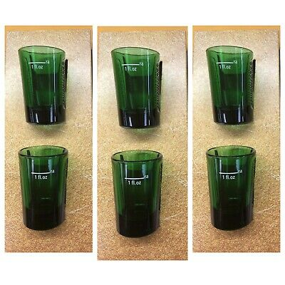JAGERMEISTER Set Of 4 JAGER GREEN GLASS SHOT GLASSES W/ EMBOSSED LOGO - NEW!