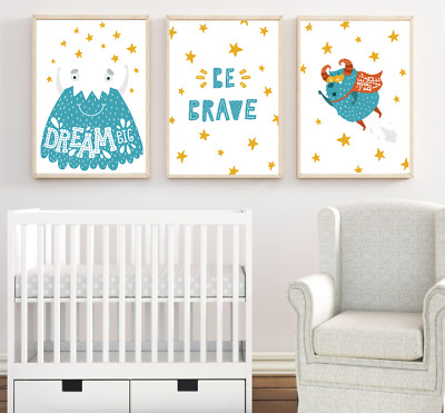 Boys Nursery Prints Set Of 3 Cute Monsters Wall Art Pictures For Baby Room Decor