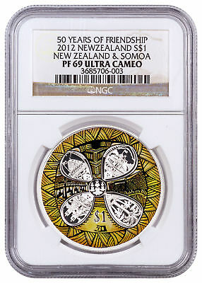 2012 Silver New Zealand and Somoa 50 Years Friendship $1 NGC PF69 CPCR SKU54526
