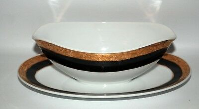 KUTANI China Gravy Boat w/Underplate*Gold Encrusted/Black Bands*Japan