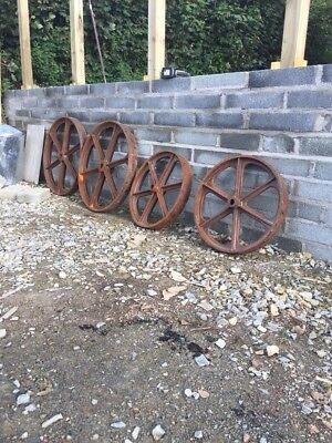 "24"" and 32"" cast iron shepherds hut/wagon/trailer wheels"
