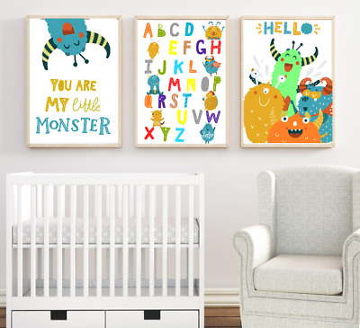 Alphabet Print Cute Monsters Nursery Art Prints Set of 3 Rainbow Baby Boy Room