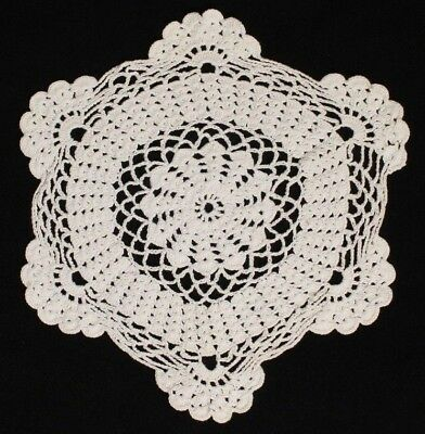 Vintage Handmade Cotton White Lace Doily with Scalloped Edge