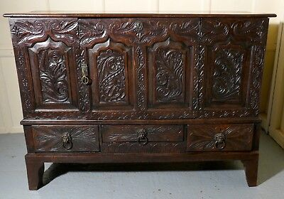 Large 18th Century Carved Oak Marriage Chest