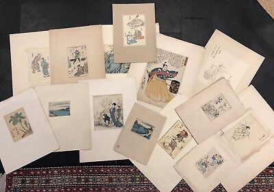Collection Of Vintage Japanes Calligraphy Watercolour Paintings Early-mid 20th C