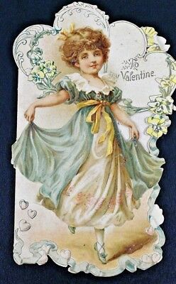 Antique Victorian Valentine Day Embossed Die Cut Card Angelic Girl  early 1900s