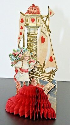 1920s German Princess Castle Valentines Day Honeycomb Tissue Display Card 3D