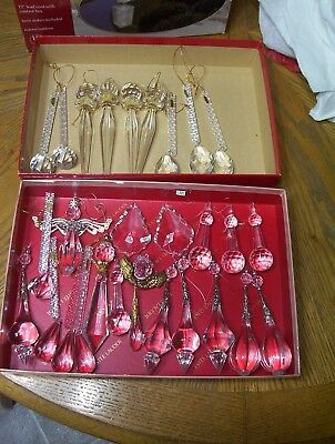 Large Lot of Dept 56 Christmas Ornaments Dangly Prism Style Great condition
