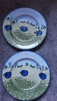 Kensington Price Potteries Hand Painted Woolly Sheep Plates