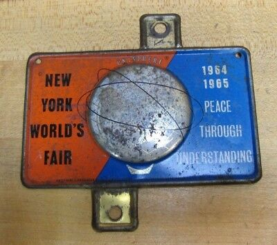 1964-65 New York World's Fair Unisphere License Plate Topper Bike Auto Sign NYWF
