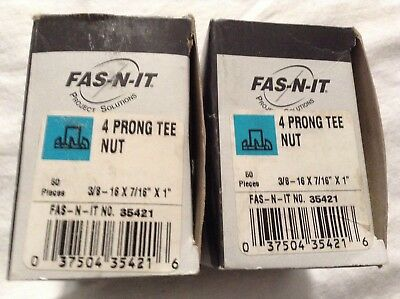 "NIB 3/8-16 x 7/16"" Qty 100 - 4 Prong Tee Nut ~ Fas-N-It #35421 ~ NEW"