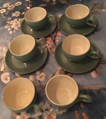 Denby Manor Green Set Of Six Cups And Four Saucers