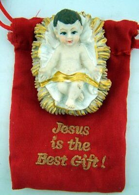Infant Christ in Creche 2 Inch Resin Christmas Statue with Drawstring Keepsake