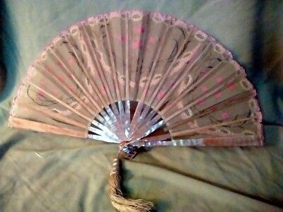 Antique Victorian Sheer  Hand Painted/Lace with Mother of Pearl Folding Fan