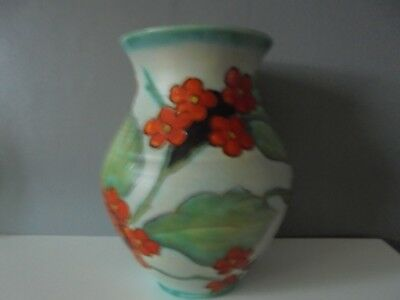 Vintage Art Deco Crown Devon Fieldings Mattita Vase Hand Painted Floral Vase