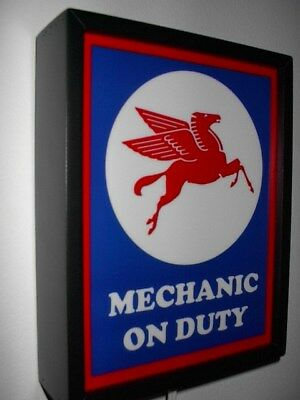 Mobil Pegasus Oil Gas Station Garage Mechanic Advertising Man Cave Lighted Sign