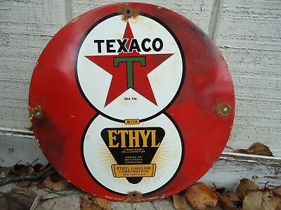 Old Used 1939 Texaco Gasoline With Ethyl Porcelain Metal Gas Sign! Pump Plate