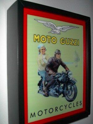 Moto Guzzi Motorcycle Rider Garage Mechanic Advertsiing Man Cave Lighted Sign