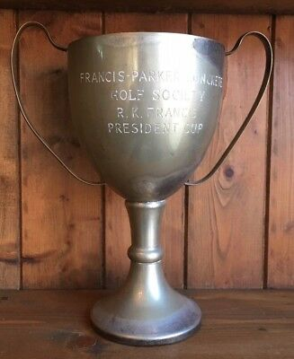 vintage large silver plate Golf trophy, loving cup, trophies, trophy, Golf