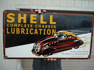 """Old Large 28"""" X15"""" 1947 Shell Lubrication  Porcelain Gas Sign! Property Of Shell"""