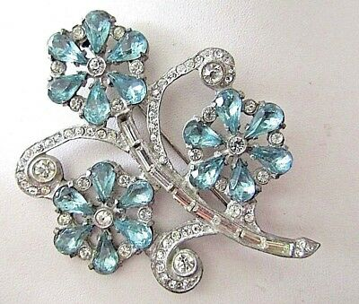 Vintage Art Deco Large Sparkly Aqua & Clear Rhinestone Flower Brooch
