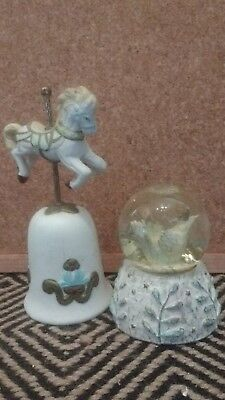 snow globe Carousel horse and bell christmas decorations