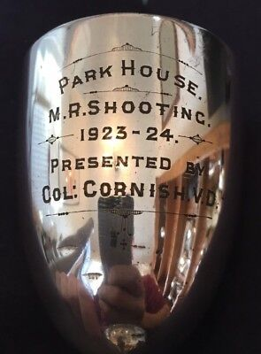 vintage silver plate 1923 Park House shooting trophy, loving cup, trophies