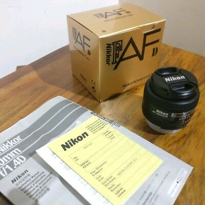 Nikon Nikkor AF 50mm f1.4D Lens Boxed with instructions in Near MINT condition.