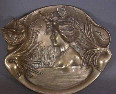 Antique FRENCH Art Nouveau BRASS LADY BUST Statue INKWELL Old N. Vidal PEN REST