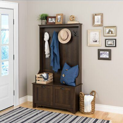 Espresso Finish Wood Hall Tree Coat Rack Hat Hooks Storage Stand Entryway Bench