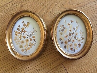 Pair Of 1980s Pressed Flower Framed Oval Pictures By Joyce Fenton Flowercraft