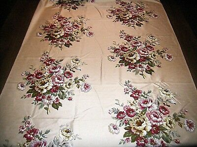 Vintage textured cream floral pink red green floral bouquets chintz fabric