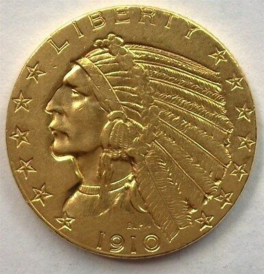 1910 Indian Head $5 Gold Half Eagle  Uncirculated
