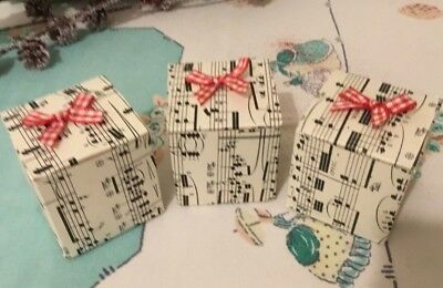 Set Of 3 Handmade Music Score Christmas Gift Boxes With Red Gingham Bow